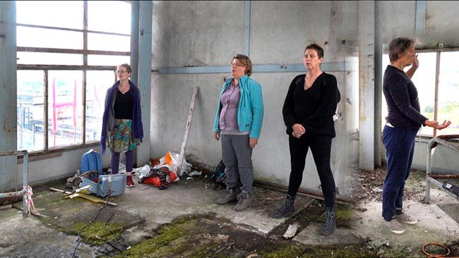 Helga Kruse, Elsbeth Klink, Greet Meesters, Ingrid Appels maken stemimprovisaties